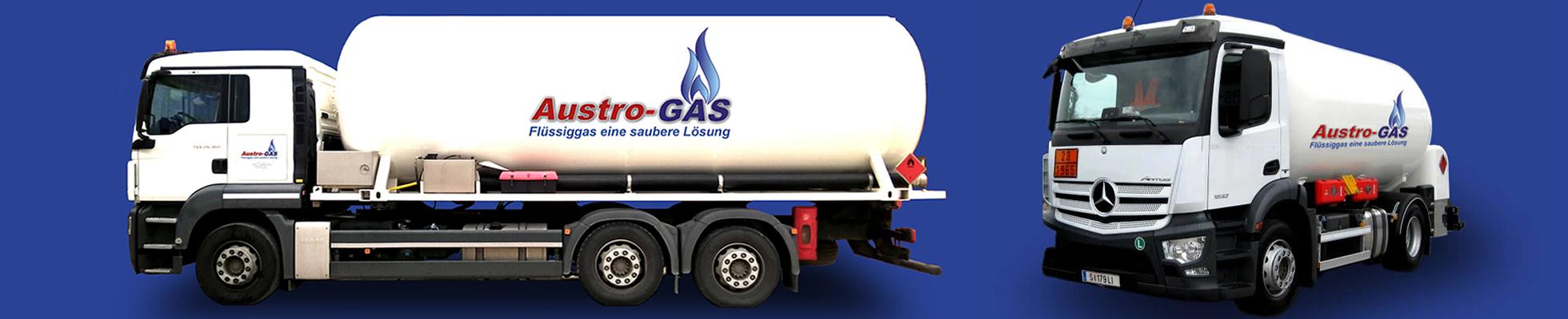 Tankfahrzeuge der Firma Austro-Gas. Austro-GAs liefert Flüssiggas